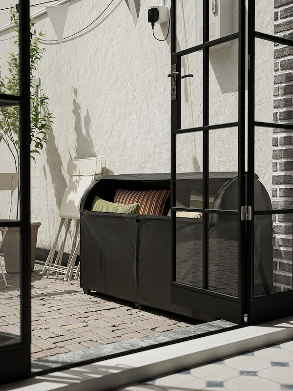 TOSTERÖ Storage box, outdoor, black, 129x44x79 cm