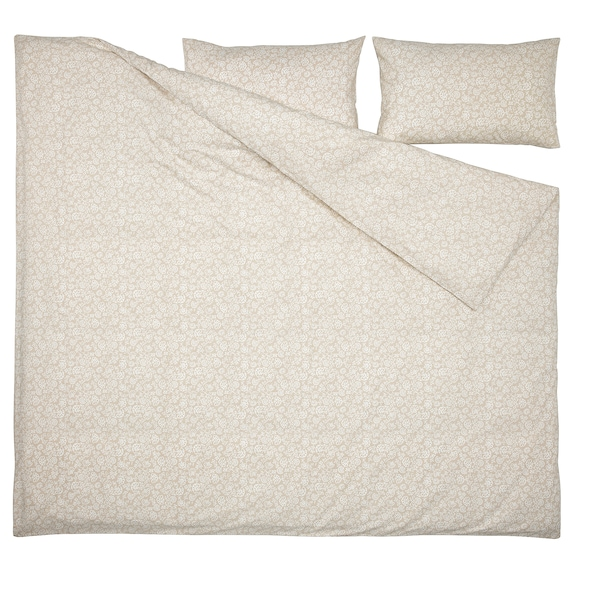 TRINDSTARR Duvet cover and 2 pillowcases, beige/white, 240x220/50x80 cm
