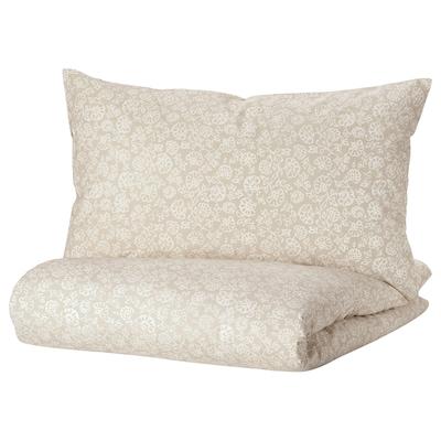 TRINDSTARR Duvet cover and pillowcase, beige/white, 150x200/50x80 cm