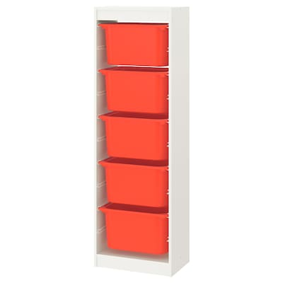 TROFAST Storage combination with boxes, white/orange, 46x30x145 cm