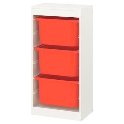 TROFAST Storage combination with boxes, white/orange, 46x30x94 cm