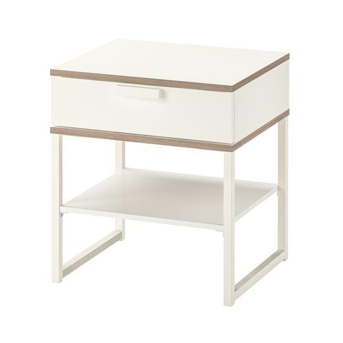 TRYSIL bedside table white/light grey 45 cm 40 cm 53 cm