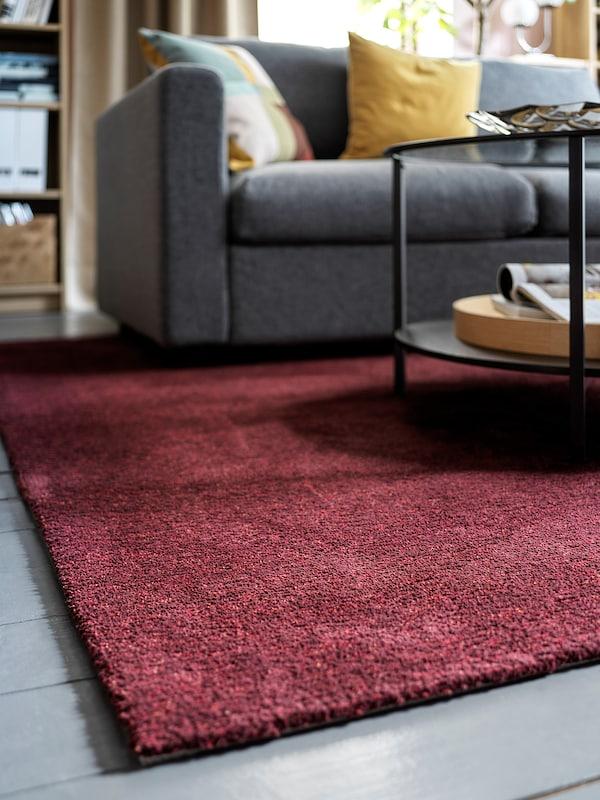 TYVELSE Rug, low pile, dark red, 200x300 cm