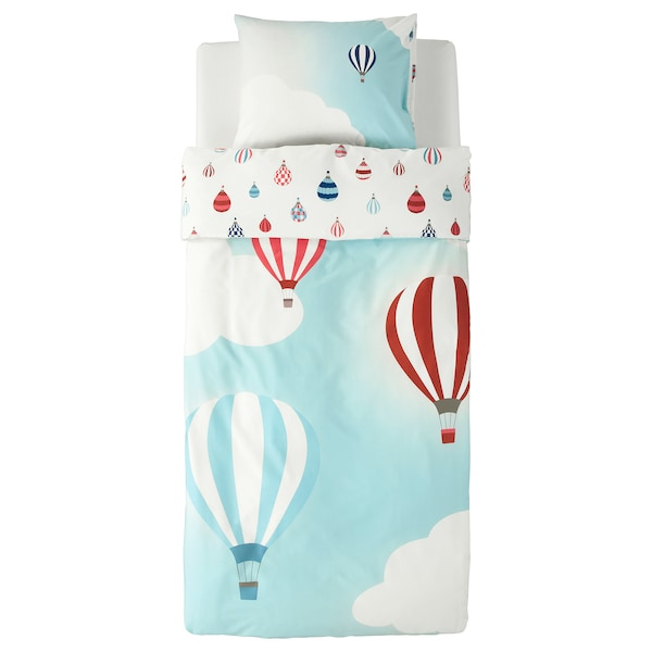 UPPTÅG Quilt cover and pillowcase, air balloon pattern/blue, 150x200/50x80 cm