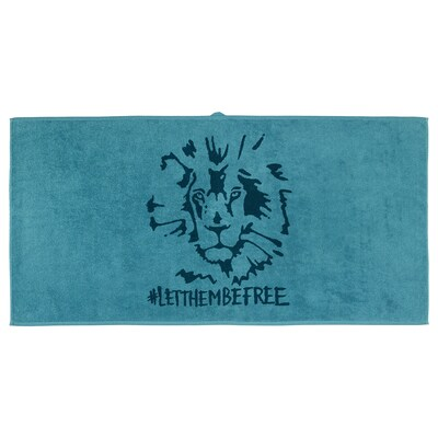 URSKOG Bath towel, lion/blue, 70x140 cm