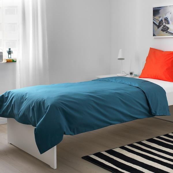 URSKOG غطاء لحاف/مخدة, أسد/أزرق غامق, 150x200/50x80 سم