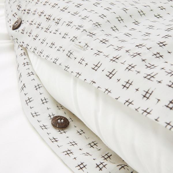 VÄGTÅG غطاء لحاف/مخدة, أبيض/بني غامق, 150x200/50x80 سم