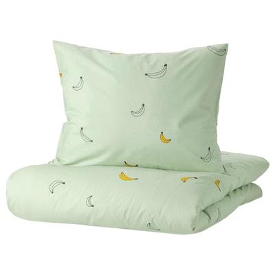 VÄNKRETS غطاء لحاف و غطاء مخدة, نقش الموز أخضر باهت, 150x200/50x80 سم