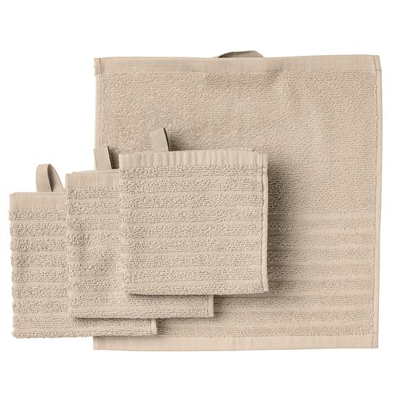 VÅGSJÖN Washcloth, light beige, 30x30 cm