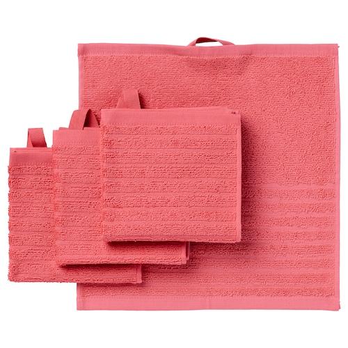VÅGSJÖN washcloth light red 30 cm 30 cm 0.09 m² 400 g/m² 4 pieces