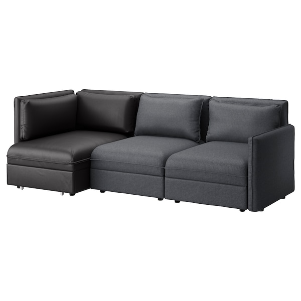 VALLENTUNA 3-seat modular sofa with sofa-bed, and storage/Hillared/Murum dark grey/black
