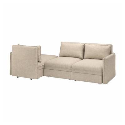 VALLENTUNA 3-seat modular sofa with sofa-bed, with storage Hillared/beige