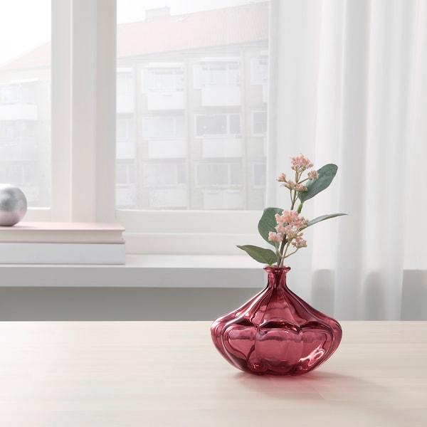 VANLIGEN vase dark red 11 cm 13 cm