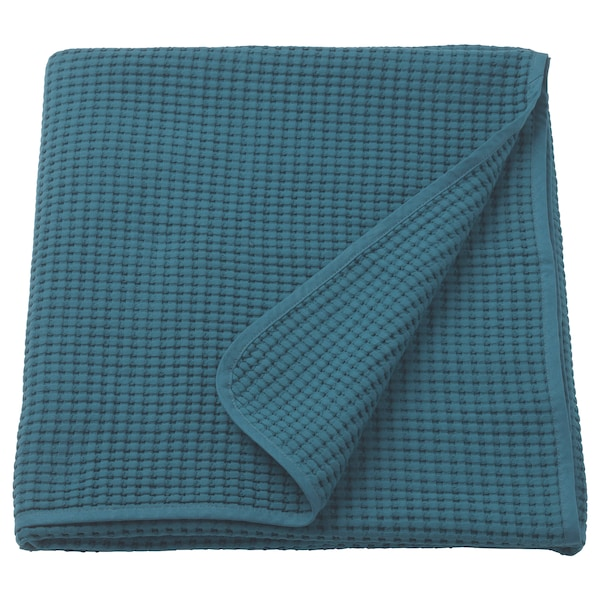 VÅRELD Bedspread, dark blue, 230x250 cm
