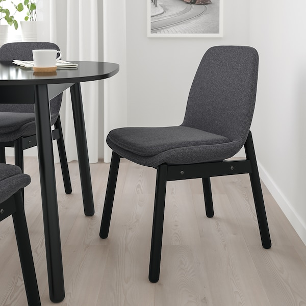 VEDBO Chair, black/Gunnared dark grey