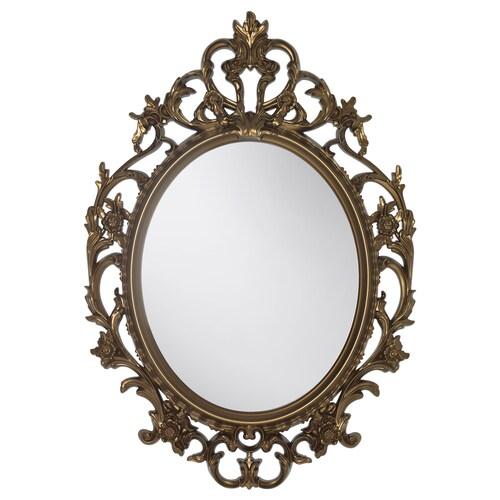 VIKERSUND mirror oval/brass-colour 59 cm 85 cm