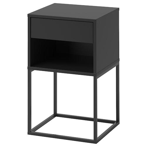 VIKHAMMER bedside table black 7 cm 40 cm 39 cm 65 cm 33 cm 33 cm