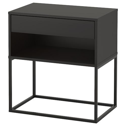 VIKHAMMER bedside table black 7 cm 60 cm 39 cm 65 cm 52 cm 33 cm