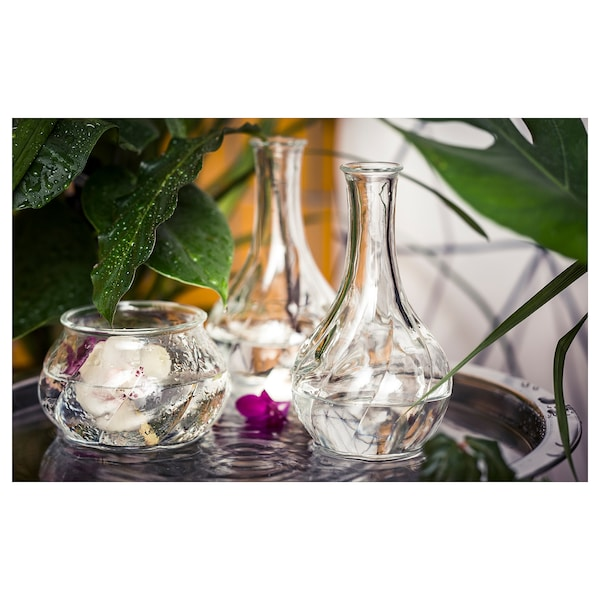 VILJESTARK vase clear glass 17 cm
