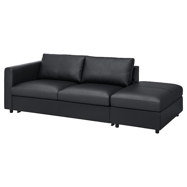 VIMLE 3-seat sofa-bed, with open end/Grann/Bomstad black