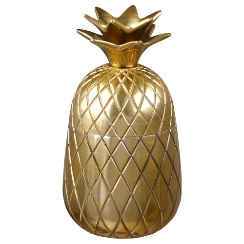 VINDFLÄKT bowl with lid Pineapple/gold-colour 16.5 cm 9 cm