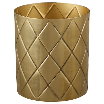VINDFLÄKT Vase, gold-colour, 11 cm