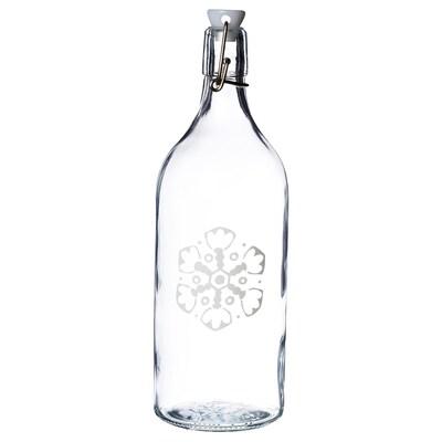 VINTER 2020 قنينة مع سدادة, زجاج شفاف/نقش كسفة ثلجية أبيض, 1 ل