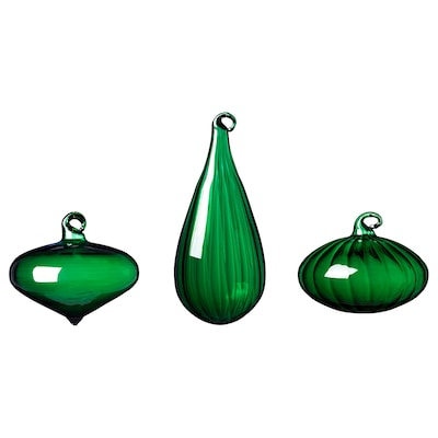 VINTER 2020 Decoration bauble, set of 3, assorted shapes/glass green
