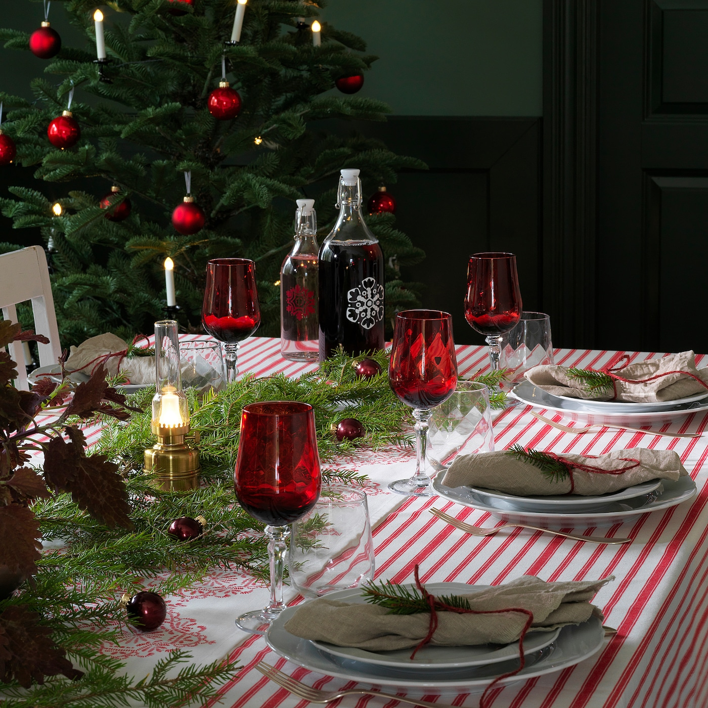 Vinter 2020 Tablecloth Striped Red White 145x240 Cm Ikea