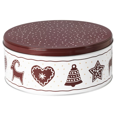 VINTER 2020 Tin with lid, gingerbread pattern white/brown