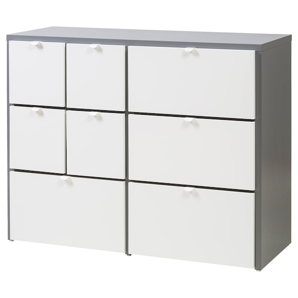 VISTHUS Chest of 8 drawers, grey/white, 122x96 cm