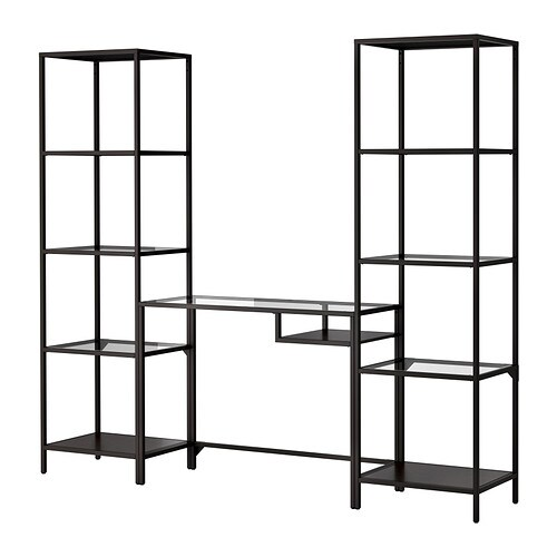 VITTSJÖ Shelving unit with laptop table   Tempered glass and metal are durable materials that provide an open, airy feel.