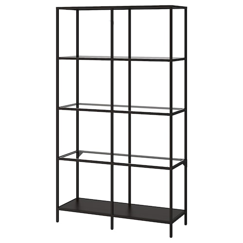 VITTSJÖ shelving unit black-brown/glass 100 cm 36 cm 175 cm 15 kg