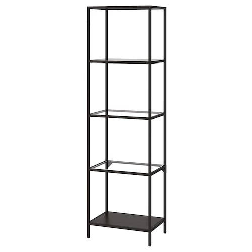 VITTSJÖ shelving unit black-brown/glass 51 cm 36 cm 175 cm 7 kg