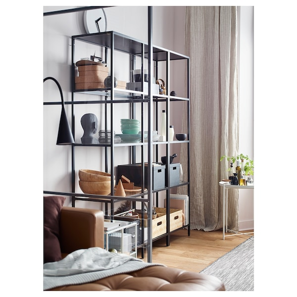 VITTSJÖ Storage combination, black-brown/glass, 151x36x175 cm