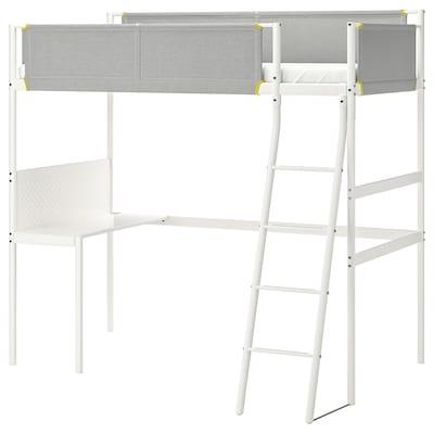 VITVAL إطار سرير عالي مع سطح, أبيض/رمادي فاتح, 90x200 سم