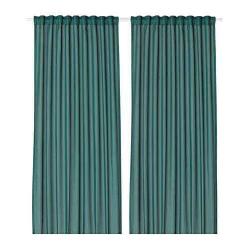 VIVAN Curtains 1 Pair Green Blue Length 300 Cm Width 145