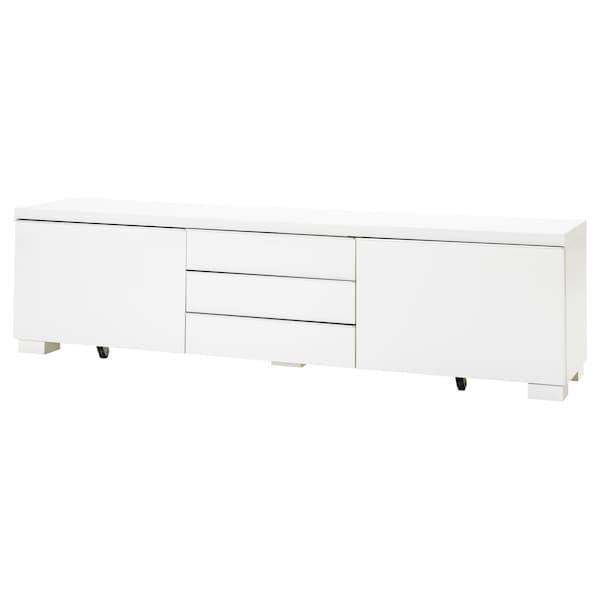 BESTÅ BURS طاولة تلفزيون لامع أبيض 180 سم 41 سم 49 سم 100 كلغ