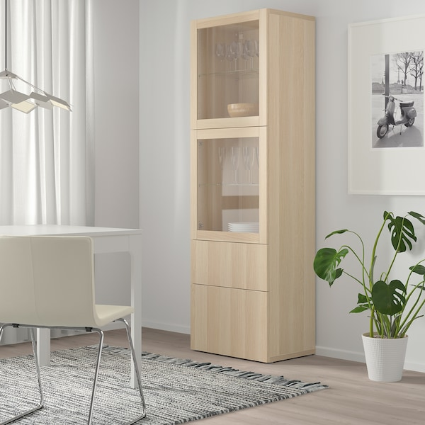 BESTÅ تشكيلة تخزين مع أبواب زجاجية