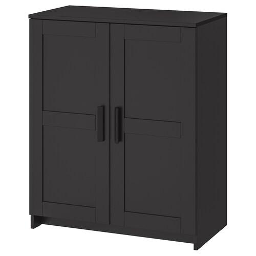 BRIMNES خزانة مع أبواب أسود 78 سم 41 سم 95 سم 25 كلغ