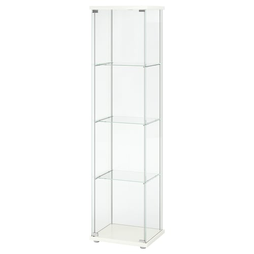 DETOLF خزانة بباب زجاج أبيض 43 سم 37 سم 163 سم 3.50 كلغ