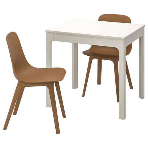 EKEDALEN / ODGER طاولة وكرسيان أبيض/بني 80 سم 120 سم