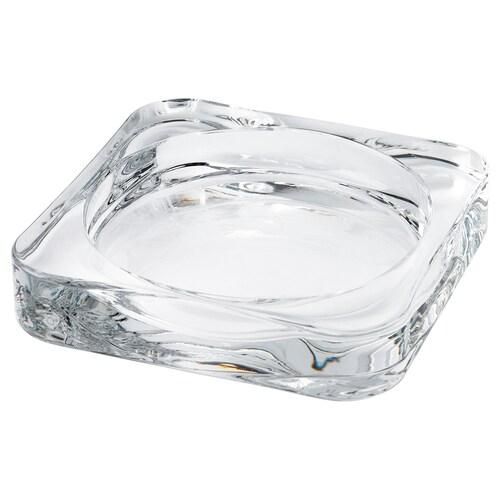 GLASIG صحن شمع زجاج شفاف 10 سم 10 سم 1.5 سم