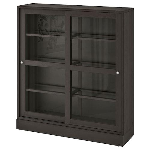 HAVSTA خزانة بباب زجاجي زجاج شفاف بني 121 سم 37 سم 134 سم 32 كلغ