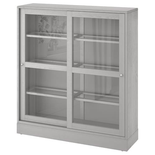 HAVSTA خزانة بباب زجاجي رمادي/زجاج شفاف 121 سم 37 سم 134 سم 32 كلغ