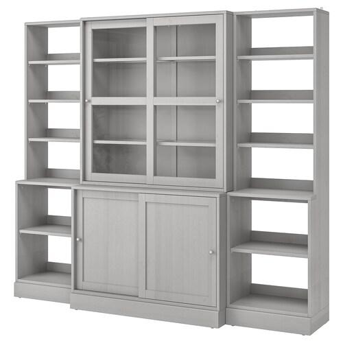 HAVSTA تشكيلة تخزين بأبواب زجاجية منزلقة رمادي 243 سم 47 سم 212 سم 20 كلغ