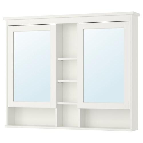 HEMNES خزانة بمرآة مع بابين أبيض 120 سم 16 سم 98 سم