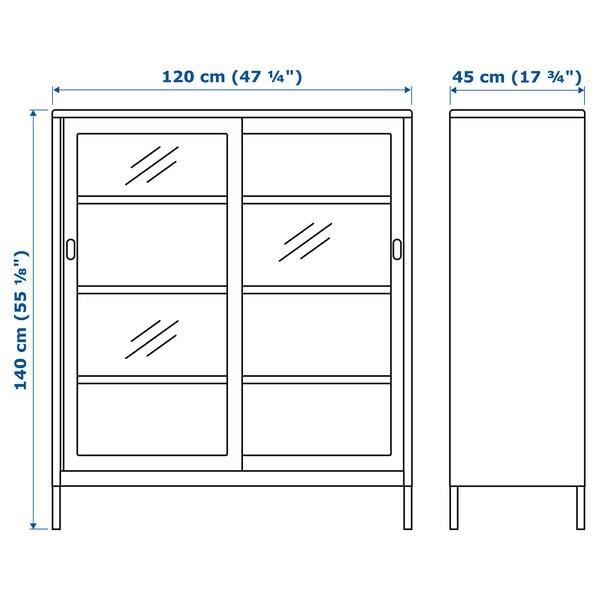 IDÅSEN خزانة مع أبواب إنزلاقية زجاجية  بيج 120 سم 45 سم 140 سم