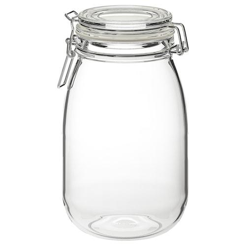 KORKEN مرطبان مع غطاء زجاج شفاف 21.5 سم 12.5 سم 1.8 ل