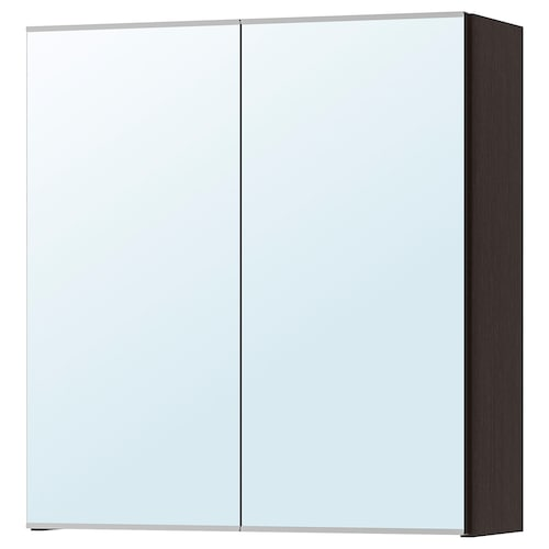LILLÅNGEN خزانة بمرآة مع بابين أسود-بني 60 سم 21 سم 64 سم